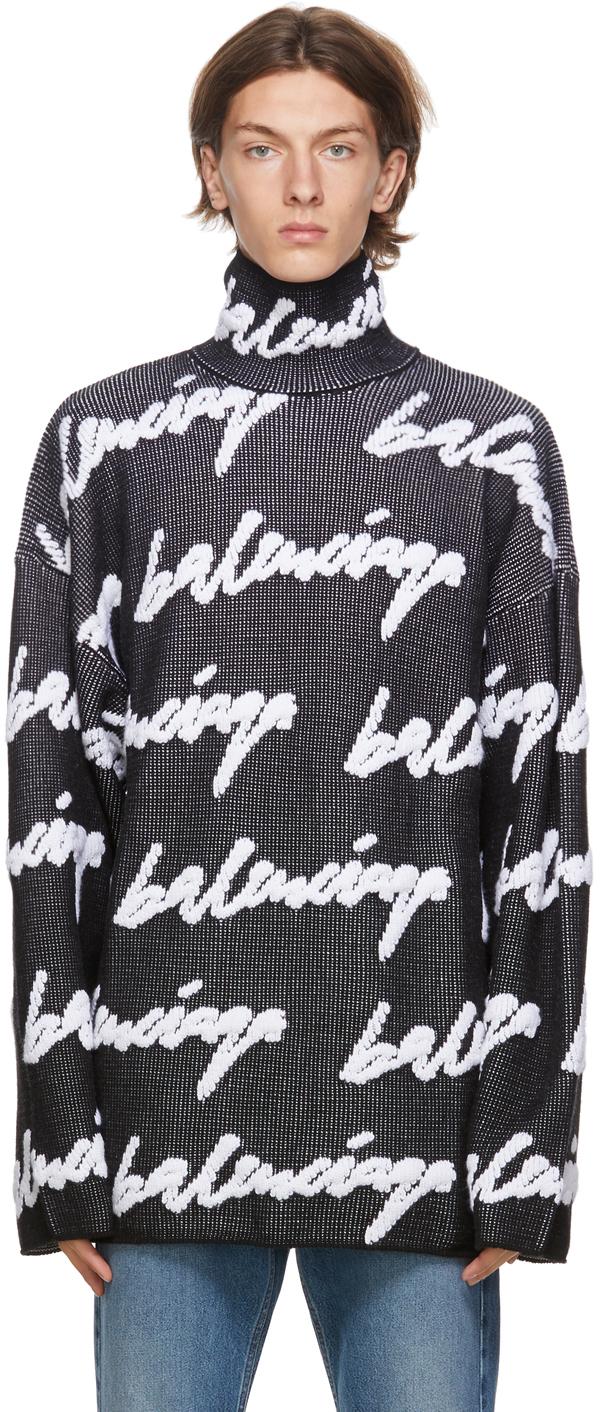 Balenciaga 黑色 & 白色 3D Scribble Logo 高领针织衫