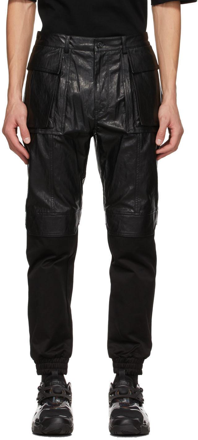 Black Faux-Leather Cargo Pants