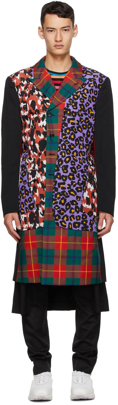 Multicolor Tartan & Leopard Coat