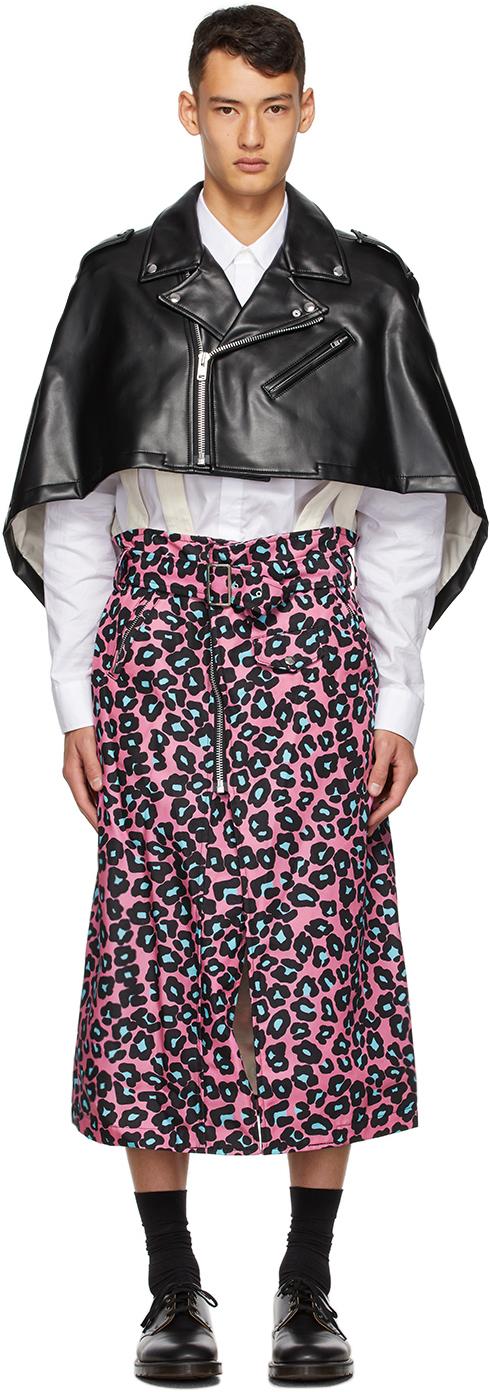 Black & Pink Faux-Leather Leopard Poncho Coat