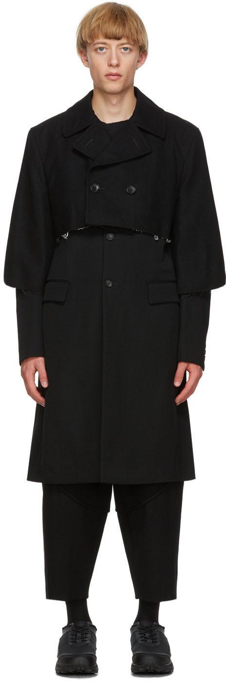 Black Wool Gabardine Layered Coat