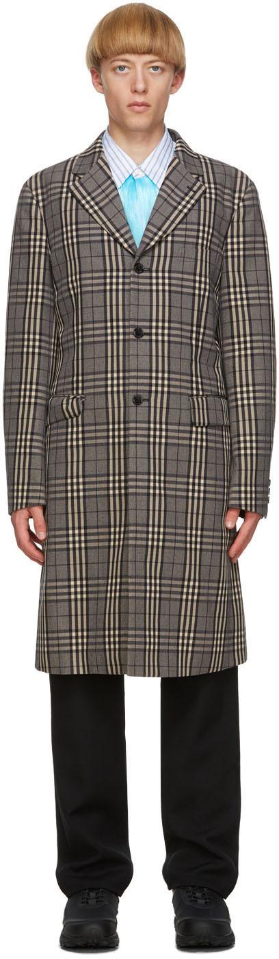 Black & Off-White Check Coat
