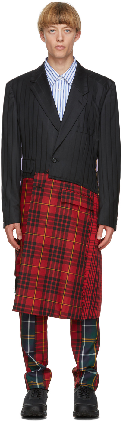 Black & Multicolor Asymmetric Coat