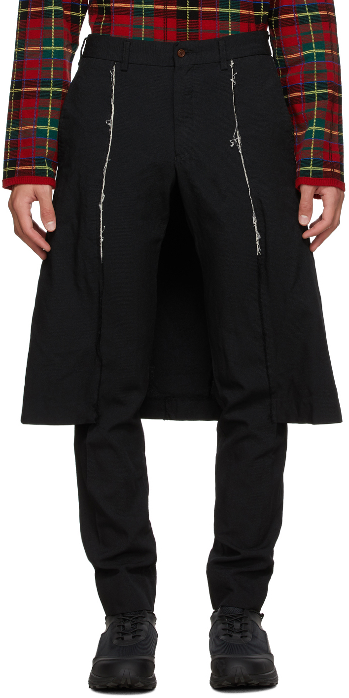 Black Thick Oxford Skirted Trousers