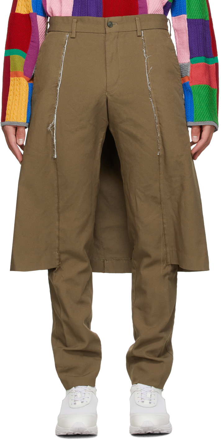 Beige Thick Oxford Skirted Trousers