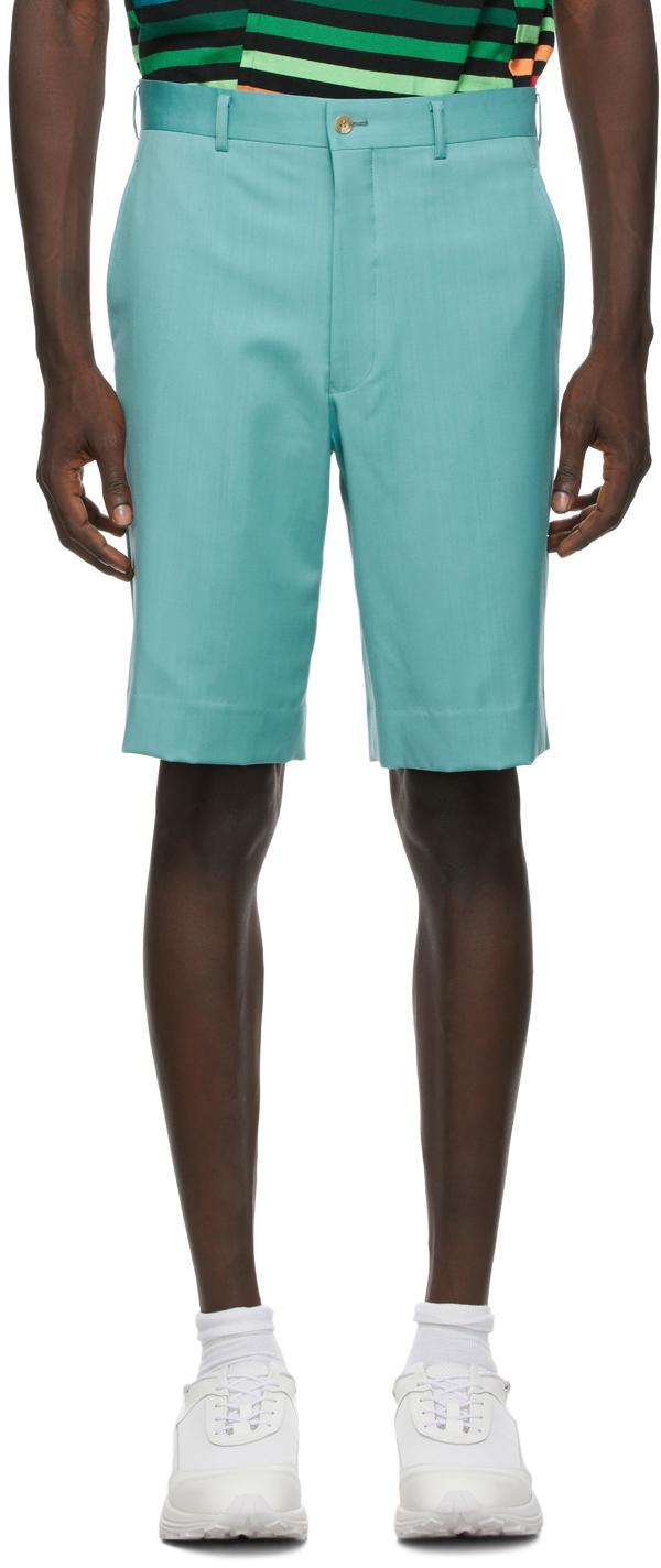 Green Wool Gabardine Shorts