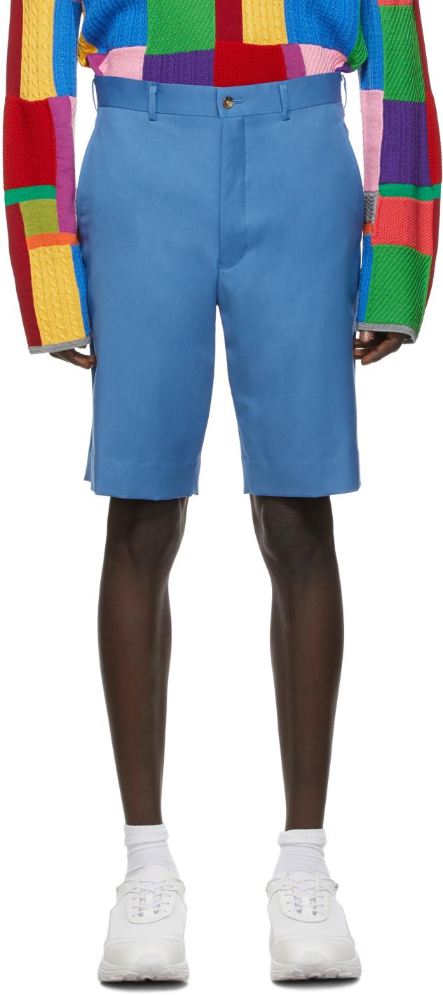 Blue Wool Gabardine Shorts
