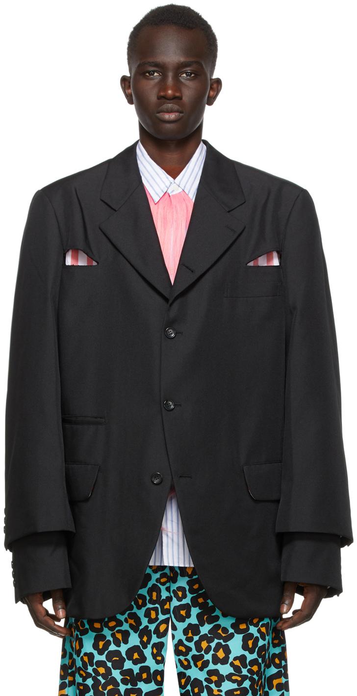 Black Gabardine Cut-Out Blazer
