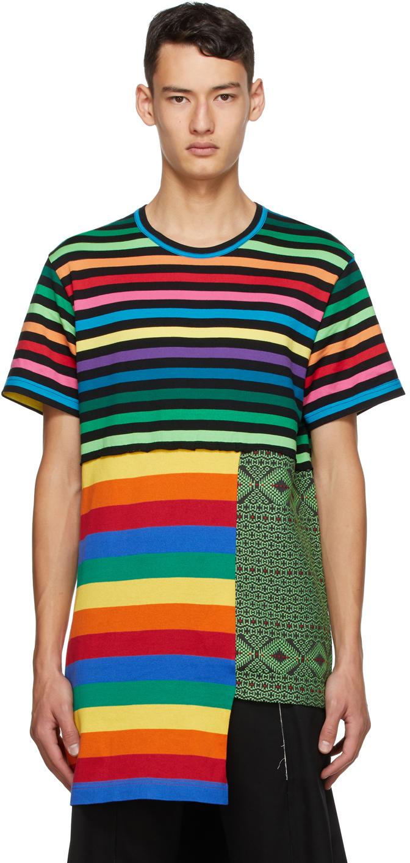 Multicolor Striped Patchwork T-Shirt