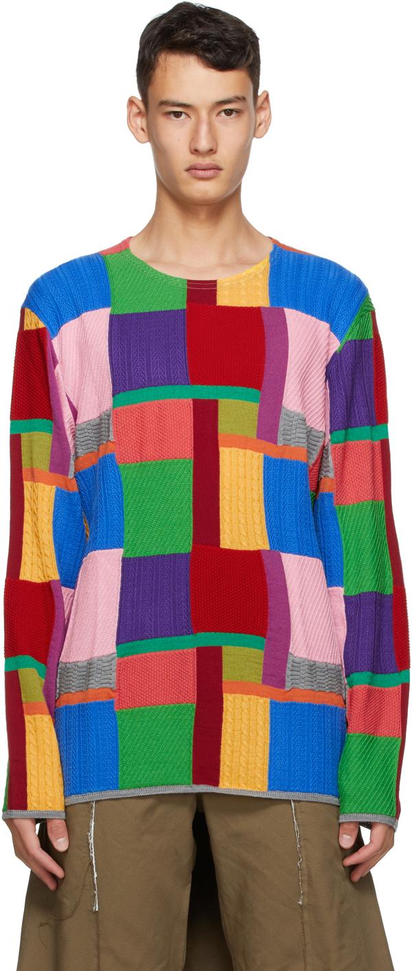 Multicolor Intarsia Crewneck Sweater