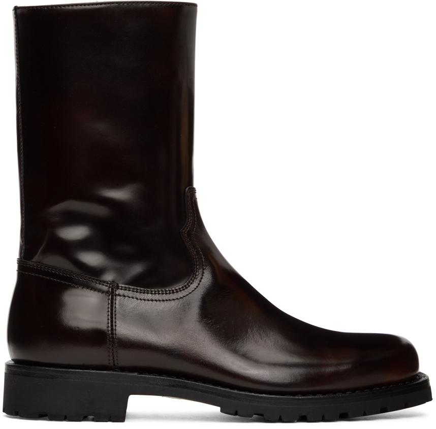 Dries Van Noten 棕色漆皮拉链踝靴