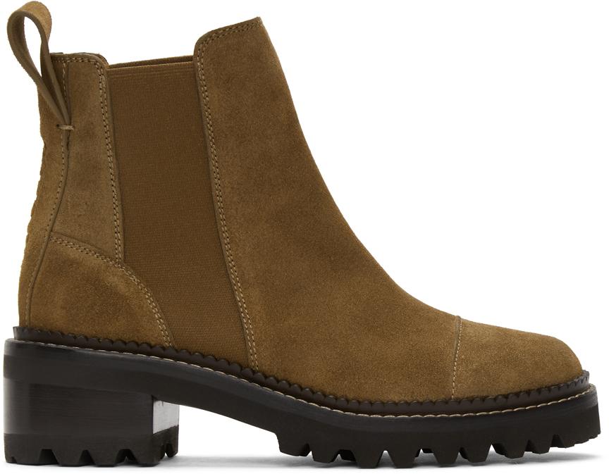 See by Chloé 灰褐色 Mallory 绒面革踝靴