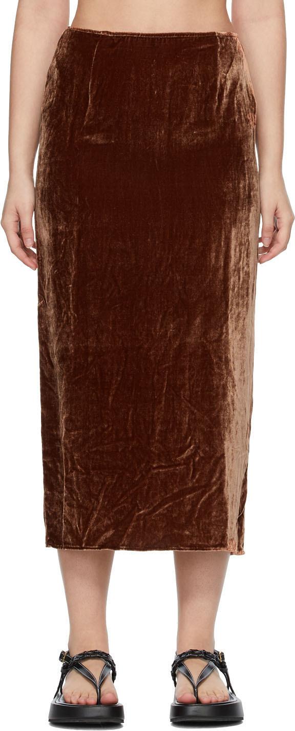 SSENSE Exclusive Brown Velvet Pearl Skirt