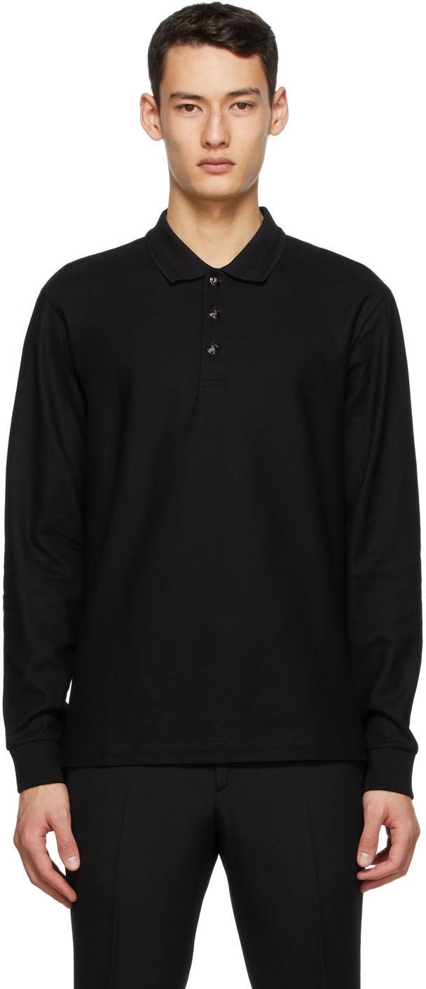 Burberry ブラック ピケ ロング スリーブ ポロシャツ