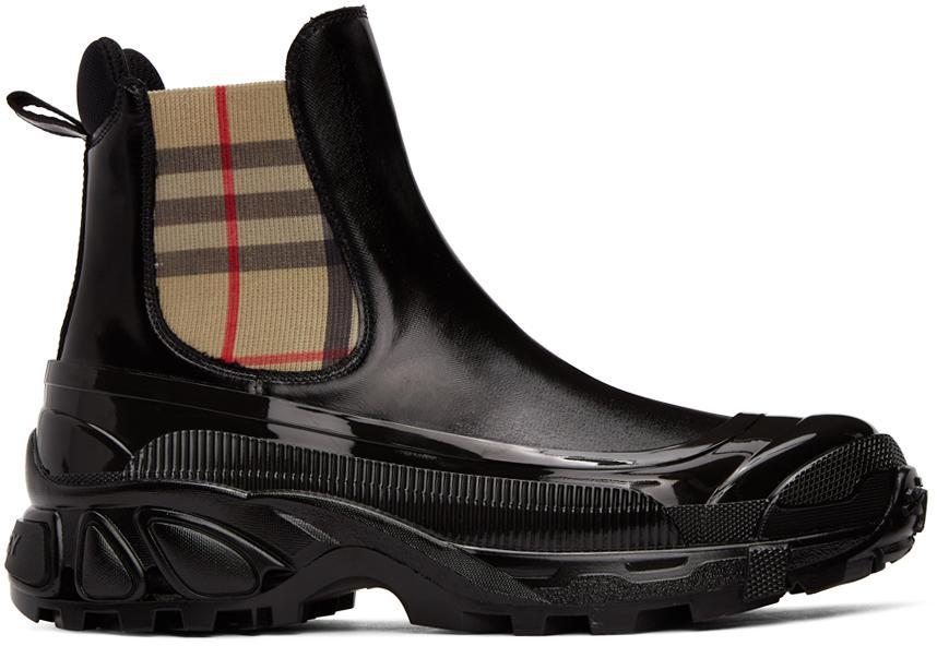 Burberry 黑色涂层帆布切尔西靴