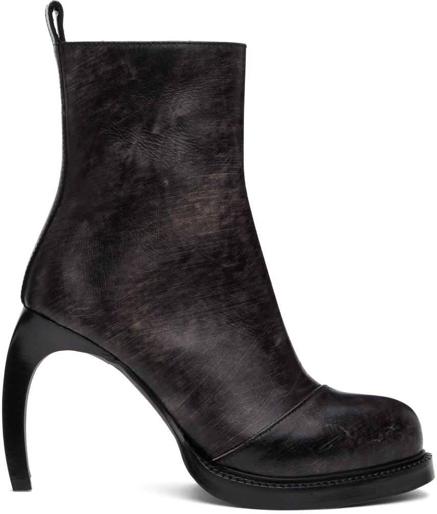 Ann Demeulemeester SSENSE 独家发售黑色 Foil Scrub 踝靴