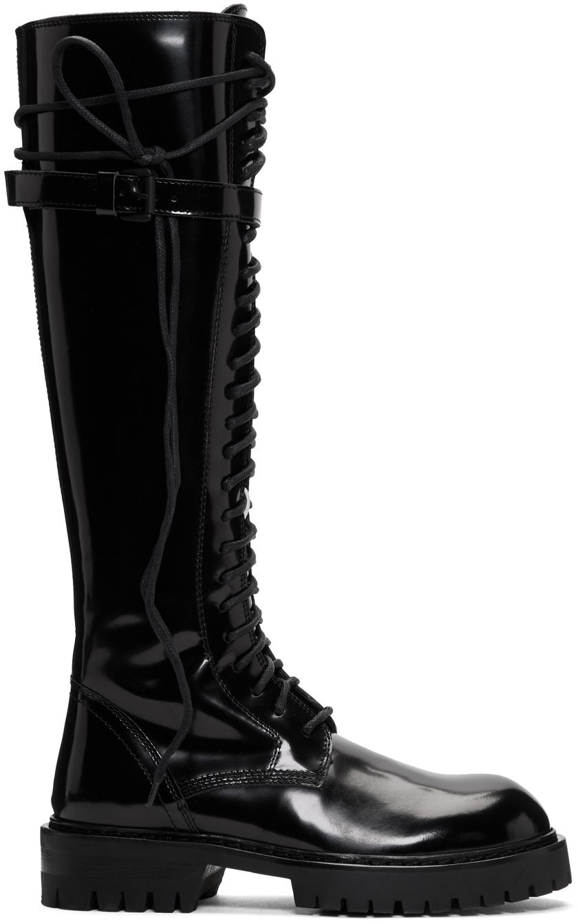 Ann Demeulemeester SSENSE 独家发售黑色漆皮高筒靴