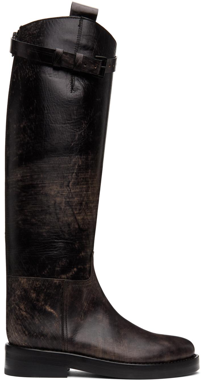 Ann Demeulemeester SSENSE 独家发售黑色 Riding 做旧搭扣高筒靴