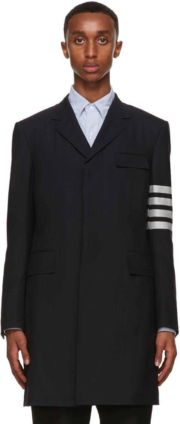 Thom Browne 海军蓝 4-Bar Suiting 羊毛大衣