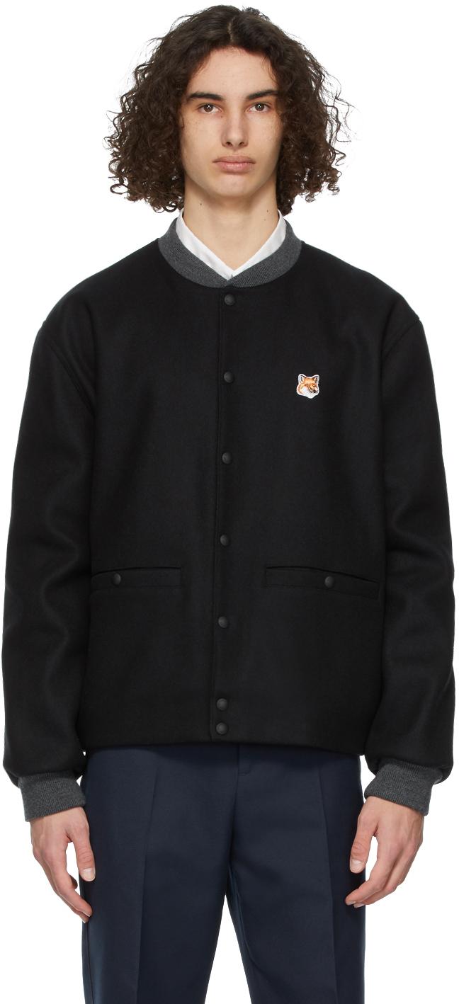 Maison Kitsuné Black Fox Head Teddy Bomber Jacket