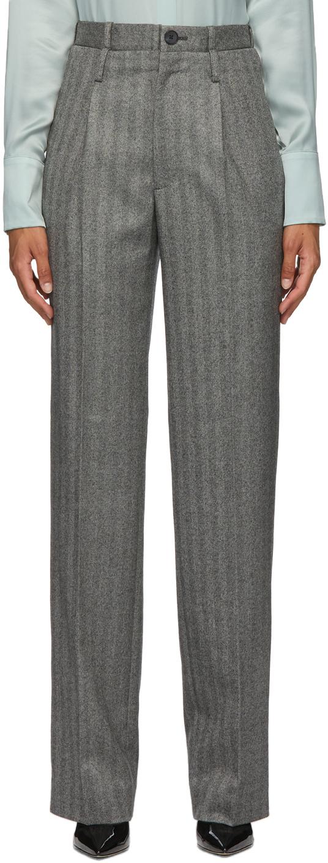 Grey Herringbone Double Waisted Trousers