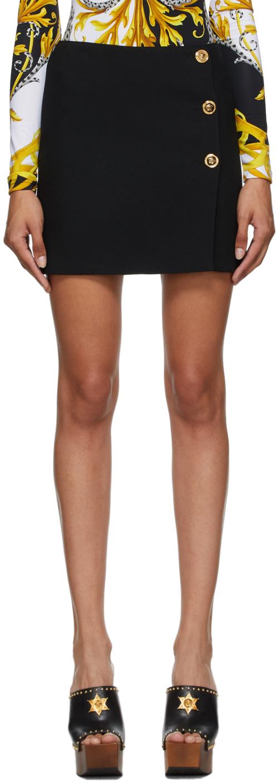 Versace 黑色纽扣短裙