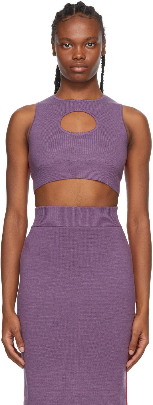 Victor Glemaud 紫色 & 红色拼色羊毛背心
