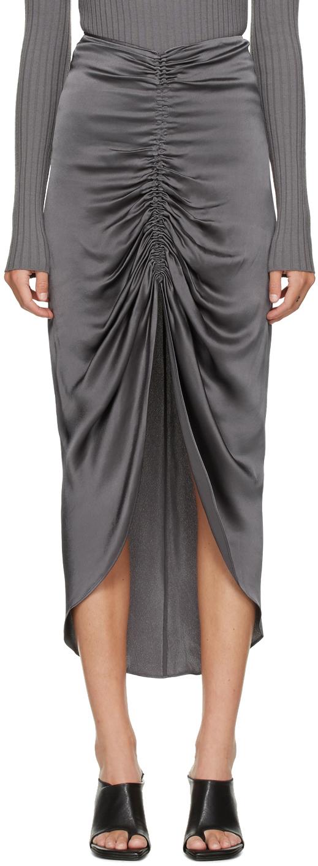 Grey Gather Tie Skirt