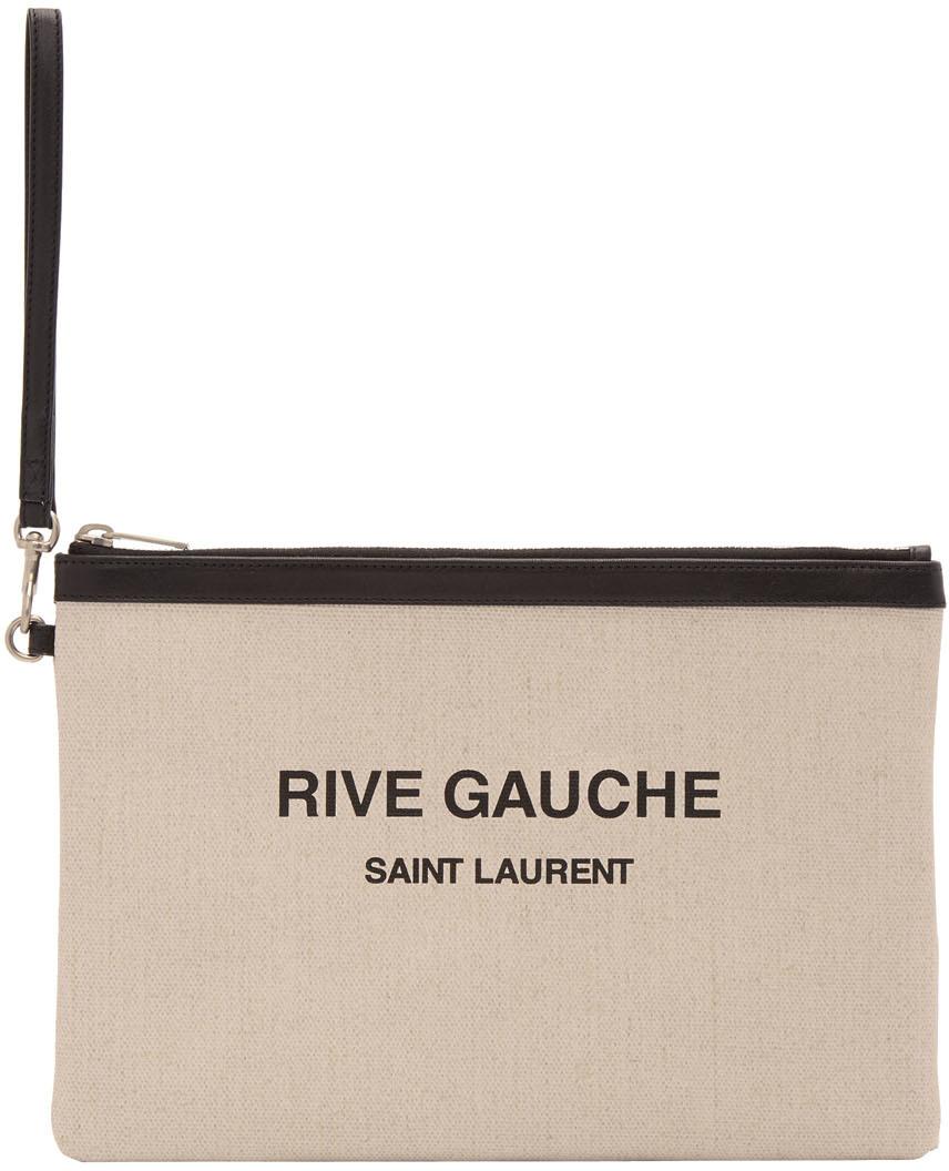 """Saint Laurent 灰白色""""Rive Gauche""""帆布手拿包"""
