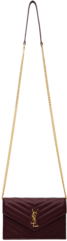 Burgundy Monogramme Chain Wallet Bag