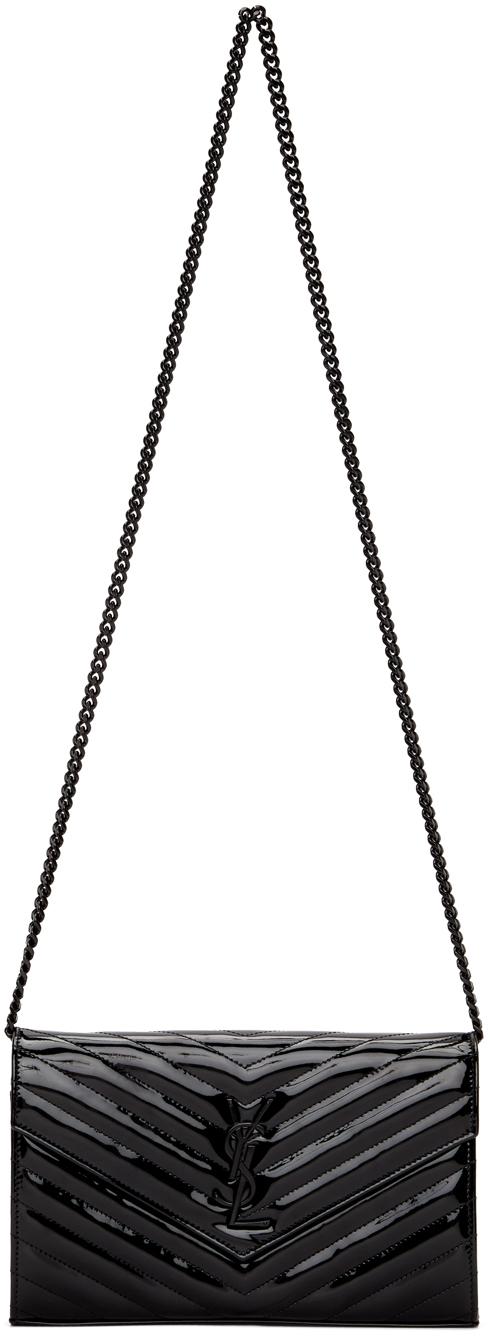 Black Patent Monogramme Chain Wallet Bag