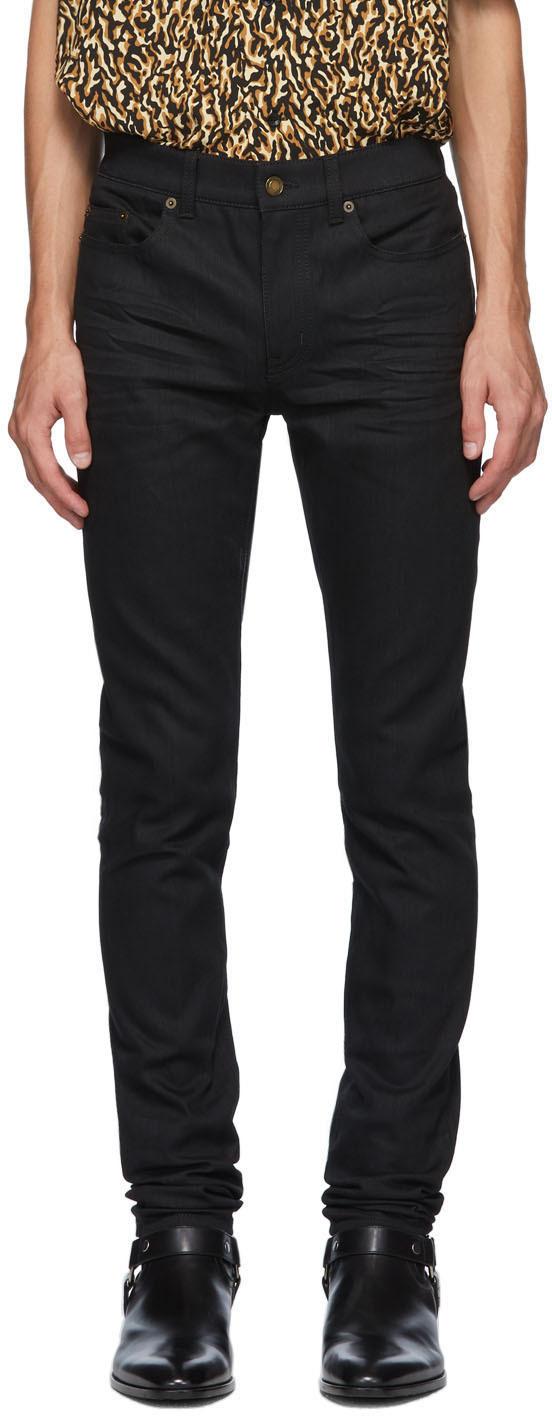 Saint Laurent 黑色紧身牛仔裤