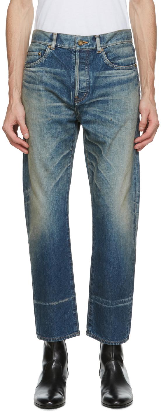 Saint Laurent 蓝色 Staight-Cut 牛仔裤
