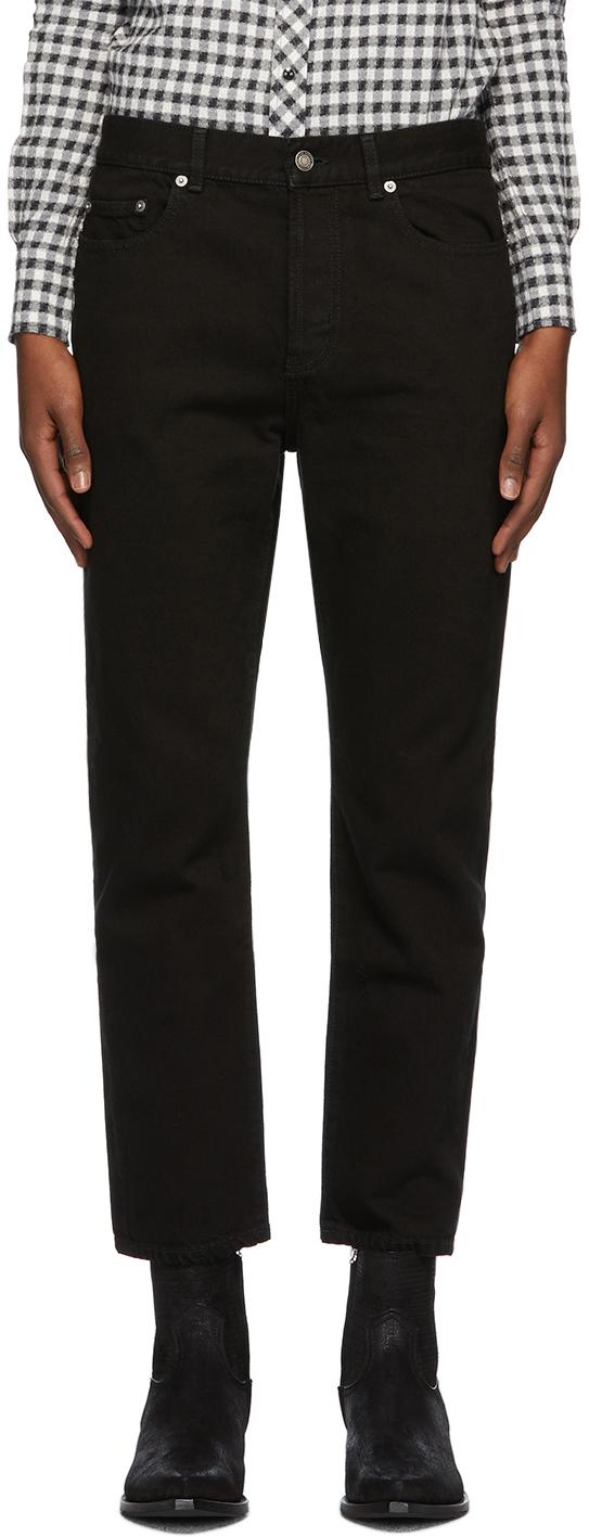 Saint Laurent 黑色做旧直筒牛仔裤