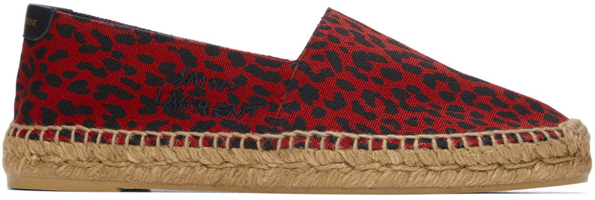 Red Babycat-Print Embroidered Espadrilles