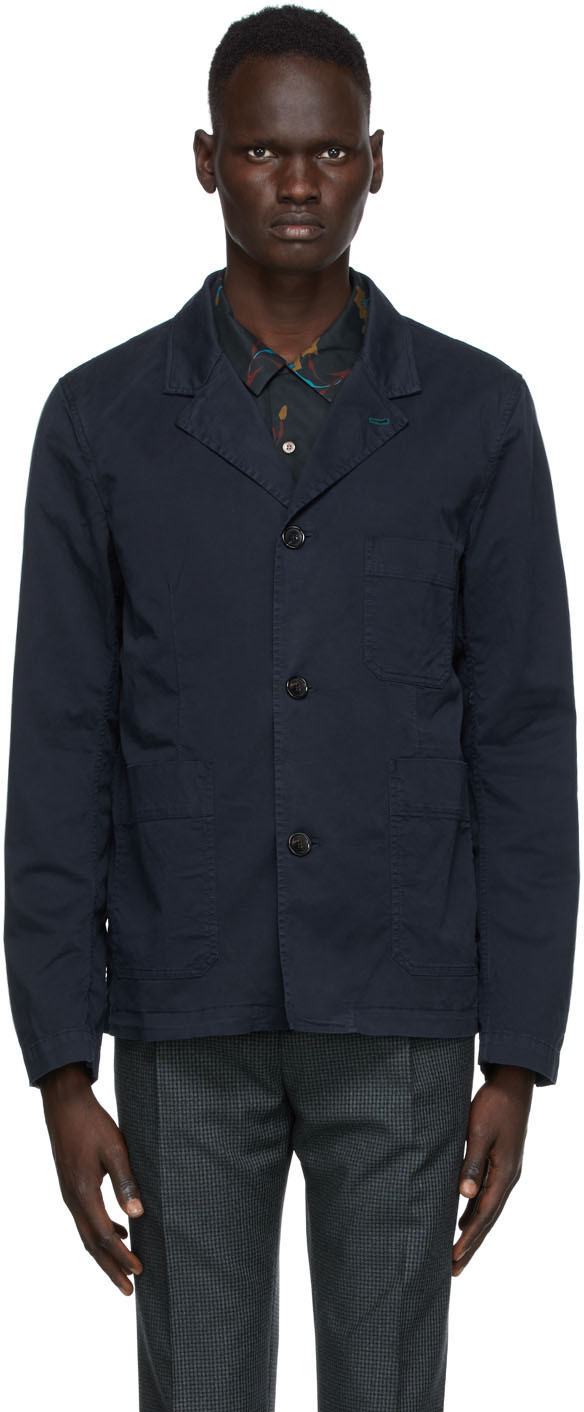 Navy Convertible Collar Jacket