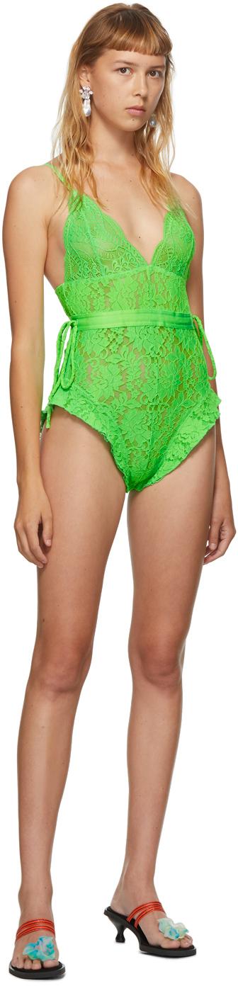 SSENSE Exclusive Green Lace Bodysuit