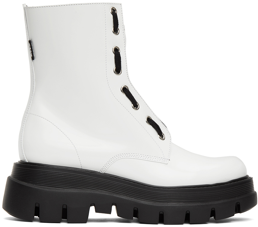 White Patent Ankle Boots by MSGM on Sale