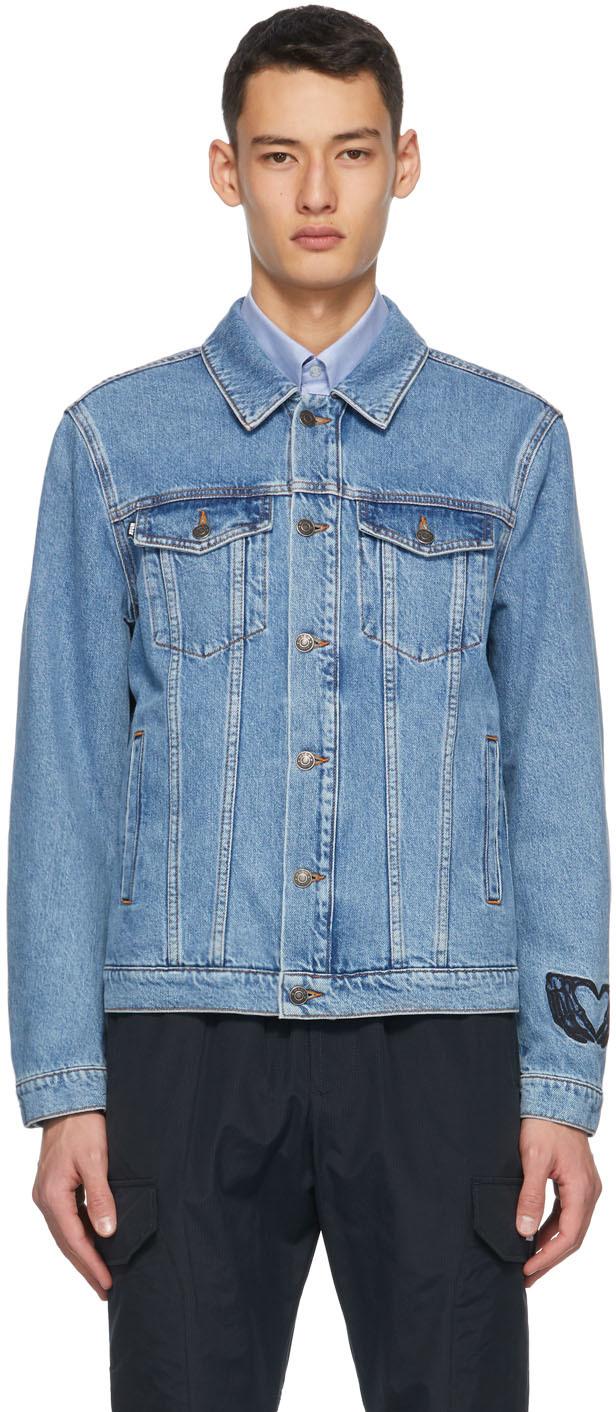 Blue Denim Embroidered Logo Jacket