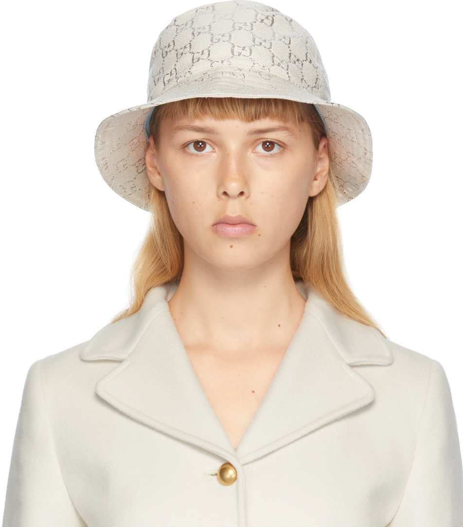 Gucci 白色 GG 金银丝渔夫帽