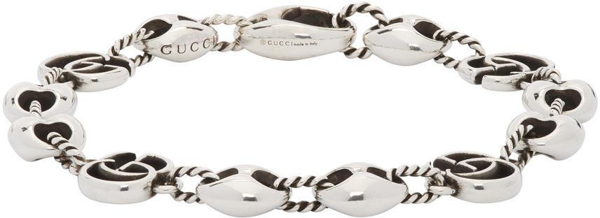 Gucci 银色 Double G Marina 手链
