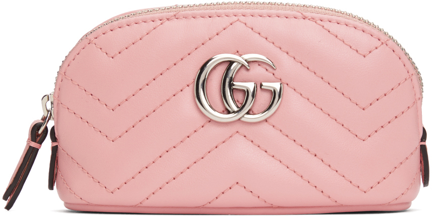 Pink Mini GG Marmont 2.0 Quilted Zip Pouch