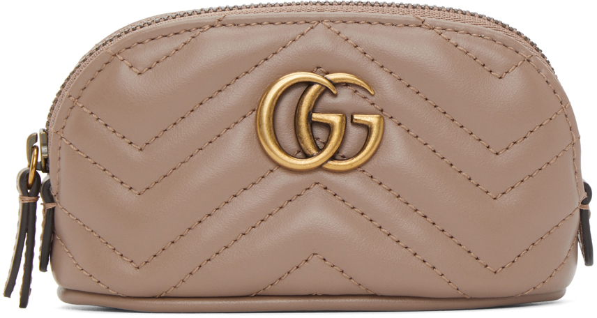 Taupe Mini GG Marmont 2.0 Coin Pouch Keychain