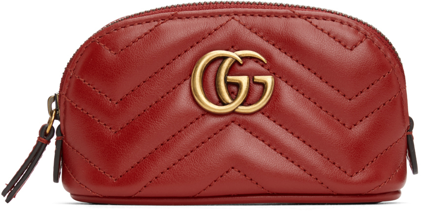 Red Mini GG Marmont 2.0 Quilted Zip Pouch