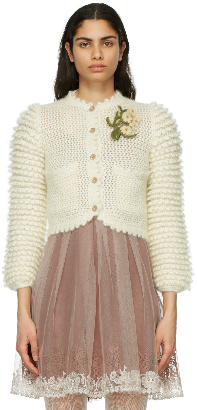 Off-White Mohair Floral Brooch Cardigan