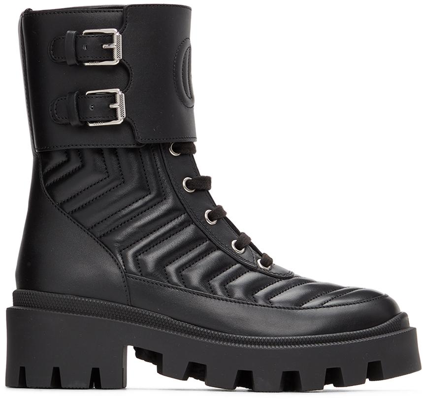 Gucci 黑色 Interlocking G 中筒靴