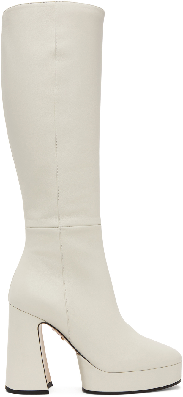 Gucci: White Leather Knee-High Boots