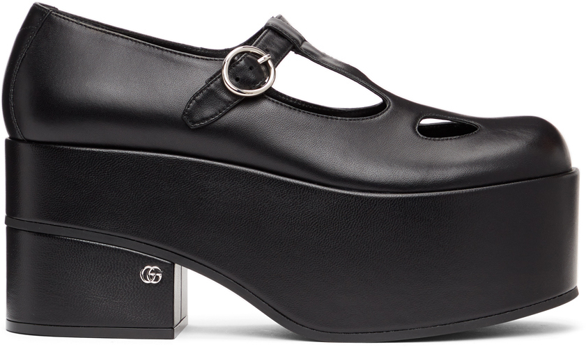 Gucci 黑色方头玛丽珍鞋