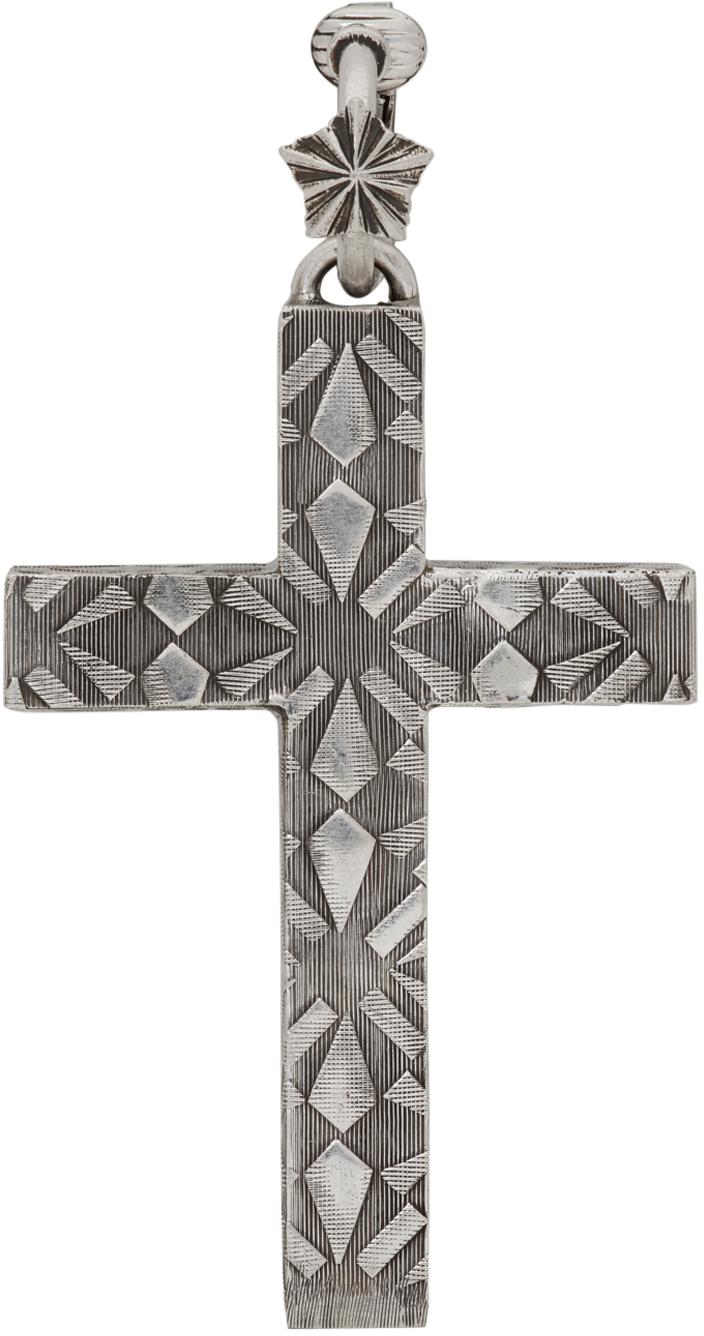 Silver Cross Single Clip-On Earring