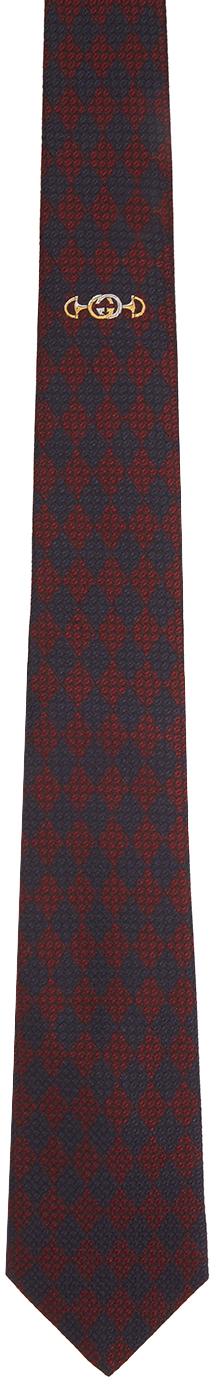Gucci 红色 & 蓝色 Interlocking G 真丝领带